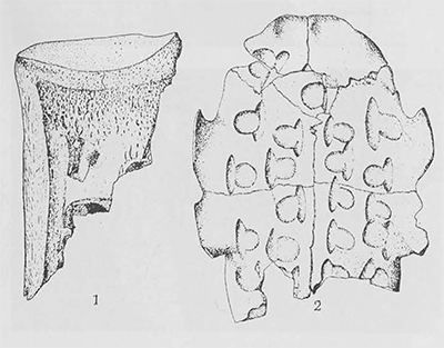 No. 1 is the scapula of an ox, 2 the plastron of a tortoise, both used in divination.
