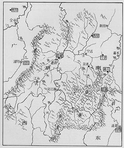 Modern map of part of the region shown on Map 1. North is at the top. China Pictorial No. 9, 1975, p. 37.