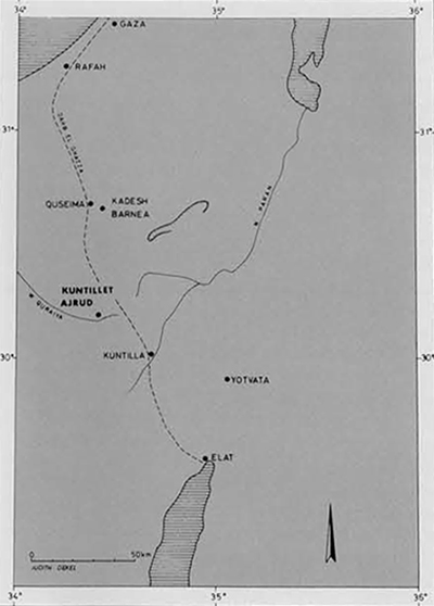 Map of the Negev and northern Sinai showing the location of Kuntillet 'Ajrud about half way between the Mediterranean coast and the Gulf of Eilat.