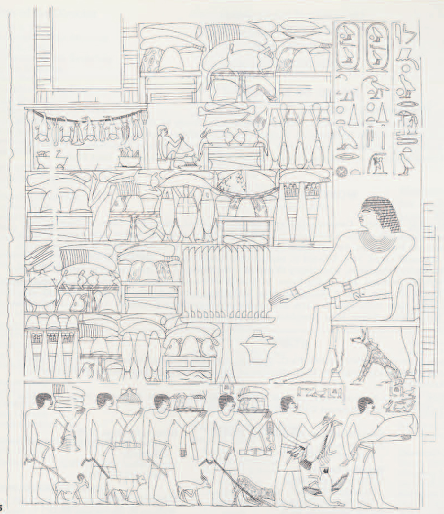 Line drawing of south wall of portico mastaba of Tjetu, by Nicholas Thayer of the expedition. Note the details no longer visible in the corresponding photograph. Above are scenes of the preparation of food in kitchens, and Tjetu's titles and name