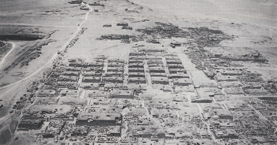 The Great western cemetery at Giza as seen from the Great Pyramid. Here the Italian, German and American excavations, in three strips from left to right, studied the development   of the tombs of the officials of the Old Kingdom Dynasties IV to VI. The large Mastaba in the foreground belonged to Babael and is featured by two square statue house in front of it. The huge mastaba in the upper right failed to yield the name of its owner. The small structure in front of it on its left end is the mastaba of Tjetu recently copied by the Expedition