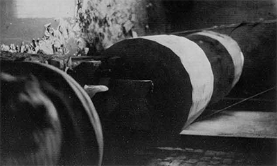 Tumbling barrels used for the final polishing of the beads