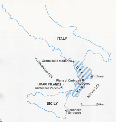 Map of southern Italy and Sicily.
