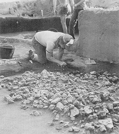 Excavation of the collapsed north wall of the structure in Area H at Piana di Curinga.