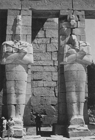 Egypt never fails to work its magic. It has been one of the most popular destinations for Women's Committee tours. Here, members of the 1964 tour are dwarfed by the statues of Ramesses II in the Ramesseum. Photo by Kenneth D. Matthews.