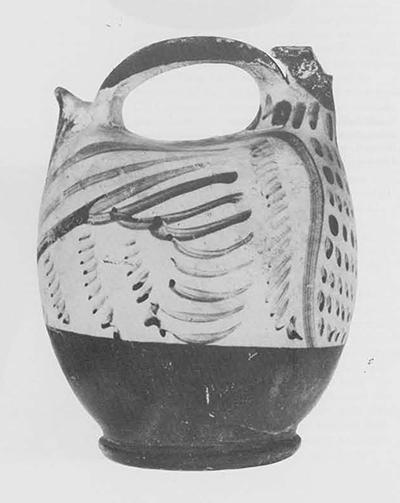 Type B bird-askos, also known as a spout-tail askos. Paris, Musée du Louvre, inv. no Cp. 2638. Max. length 11.5 cm., max. height 14.5 cm.