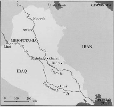 Map of Mesopotamia and surrounding regions.