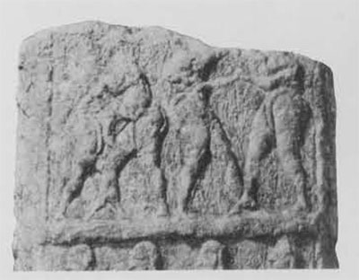 The earliest representaiton of wrestlers occurs on a stela (detial shown here) from Badra, Iraq, now in the Iraq Museum. ca 2900 B.C.E.