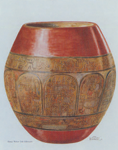 Maya vessel with incised decoration, of doubtful authenticity. Said to have been found near Copan, honduras. H. ca. 19 cm. Pl. LVII by Mary Louise Baker from Maya Pottery.