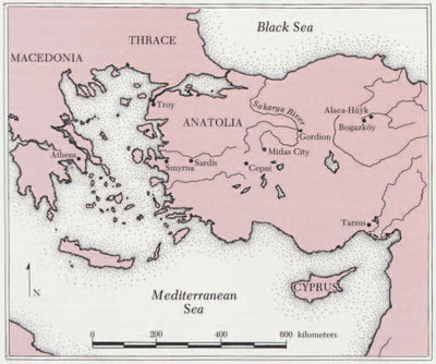 Map of Anatolia, showing the Late Bronze and Iron Age sites discussed in the text.
