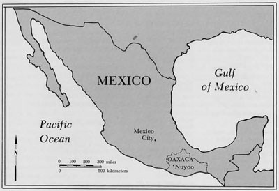 map showing the location of santiago nuyoo in the state of oaxaca mexico