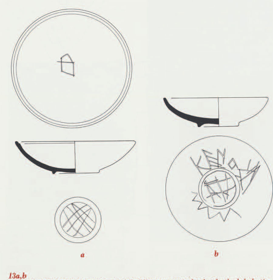 Polished black bowls from the Middle Phrygian period: a has both alphabetic and non-alphabetic marks applied to the exterior after firing. B) has non-alphabetic marks on the exterior and interior (Drawings by Hoffman, courtesy of the Gordion Project)