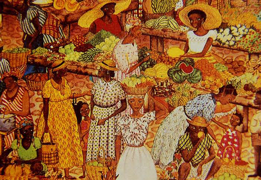 Produce grown by slaves was sold by them during Sunday markets, which were known for their spontaneity and color. This painting of a modern market in Gaudeloupe echoes the past.