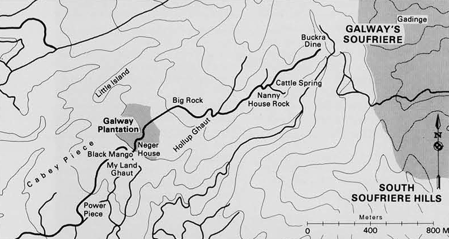 These folk place names of the environs of Galways Mountain don not appear on official charts, but they identify well-known landmarks and convey the intimacy with which the people regard their landscapes. The shading marks Galways plantation and Gadinge, a high mountain region with many gardens.