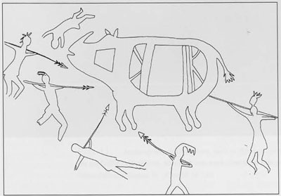 Fig8. Drawing of a cave painting depicting a rhinoceros hunt, southeastern Uttar Pradesh. This oft-cited sketch in fact sheds little light on the Copper Hoards.