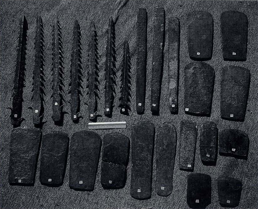 Fig4. Metal hoard implements from Haryana, including harpoons, so-called bars, and flat axes. Chemical analyses prove these implements are made of copper, not bronze. Recent discoveries at sites in the doab are shedding light on people who made these objects and aspects of their culture.