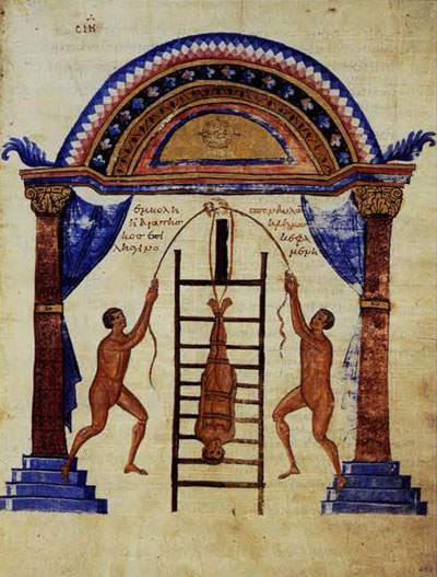 Fig 9. Attempted Resetting of the Dislocated Bones of the spinal column. The patient is firmly secured, and the physician and assistant use a pulley to exert a pull opposite to the force of gravity.Biblioteca Medicea Laurenziana, Florence, Codex Laurentianus 74.7:c. 200