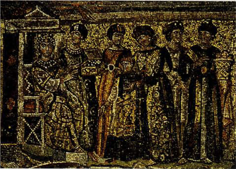 Fig 2. Theodora and Her Five Servants on a mosaic from Santa Maria Maggiore.Christlich-archaologisches Seminar, universitat Bonn