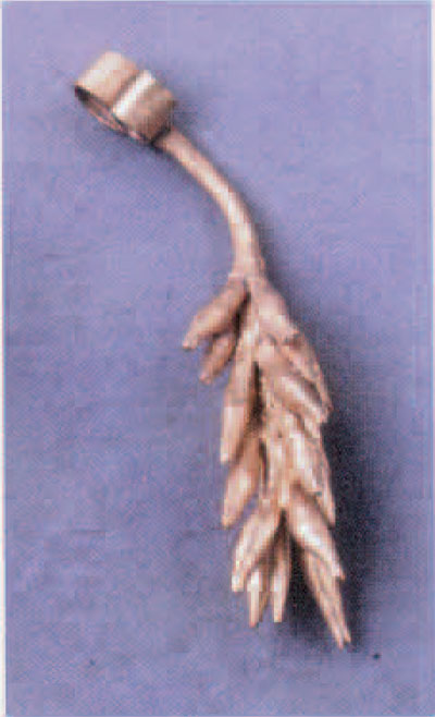 Fig2a. Gold ornament representing the flowering branch of the male date palm, formerly identified as an ear of grain.