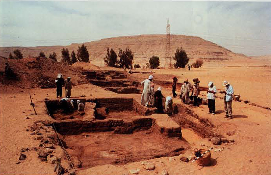 Excavations in progress in the mayor's residence, summer 1999 - view looking west towards the desert cliffs of southern Abydos