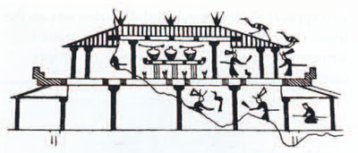 Fig. 6. This line drawing incised on a bronze vessel is th eearliest evidence for wood-framed structires. After Kwang-chih Chang, Early Chinese Civilization: Anthropological perspectives.