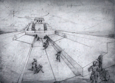 """""""Preliminary Sketch for Ball-Court; Piedras Negras Structures K-6 and K-5."""" Pencil drawing by Taitiana Proskouriakoff, ca. 1939. UPM Archives, Piedras Negras Expedition Records"""""""