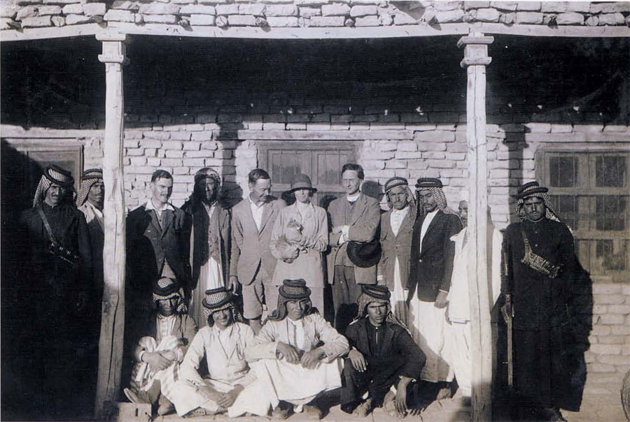 Expedition house and staff, 1928-29. Max Mallowan (third from left), Hamoudi, C. Leonard Wolley, Katherine Wolley, Father Eric R. Burrows.