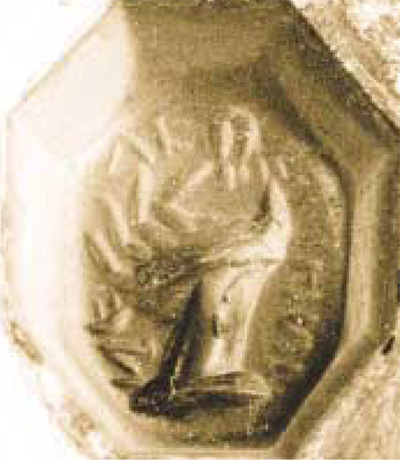 """Just as we wear rubber bands around our fingers or use Post-it Notes, or write small notes on our hands, the Romans also had their ways of triggering memory. Here you see a common one on this silver ring, the image of a hand pinching an ear, sur- rounded by an inscription (in Greek) telling its wearer to """"Remember."""""""