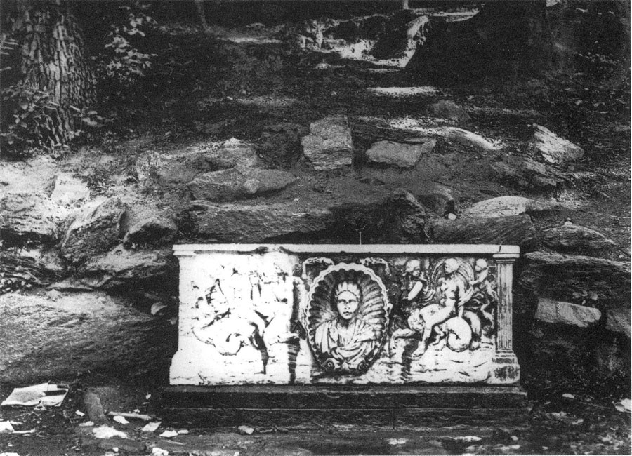 Undated period photo from the Fairmount Park Commission of the MacFarland spring sarcophagus.