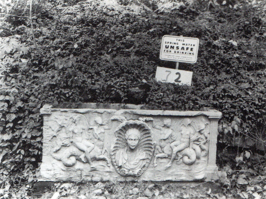 Undated period photo from the Fairmount Park Commission: the MacFarland spring area with its functioning sarcophagus water trough.