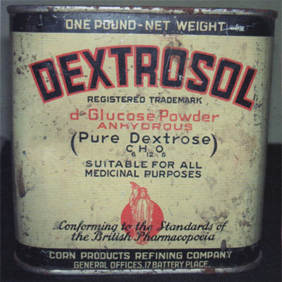 An old tin of pure Dextrose powder.