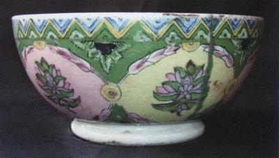 A colorful Russian porcelain bowl.