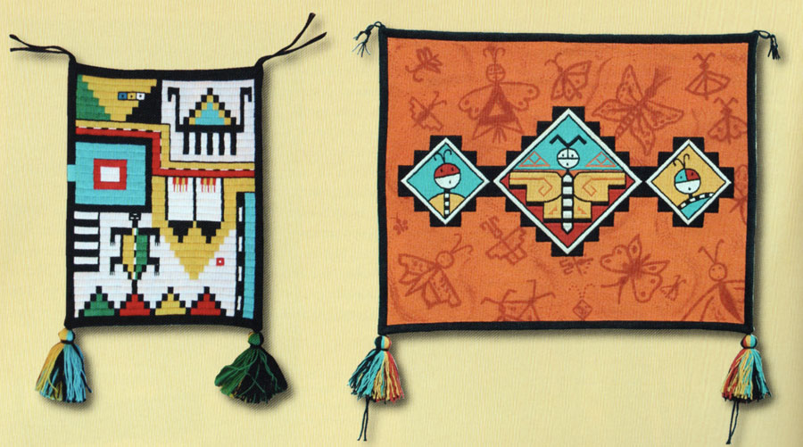 "Left, this small wall hanging, entitled ""One Corn Kernel,"" was inspired by the giving and trading between Shawn's relatives. In his youth, Shawn's grandpa made the journey nearly 200 miles to the west to visit his Tewa-Hopi friends and relatives. Before returning, he often received gifts of Hopi baskets, embroi- dered textiles, and other goods, including songs and dances. A large basketry plaque that he was given inspired the creation of this wall hanging. In Shawn's words, ""This piece honors the creativity of all Hopi basket makers. I embroidered it to resemble Hopi coiled basketry."" The piece combines several design motifs commonly seen on Hopi basketry. Four small dotted squares represent the four colors of corn including blue, yellow, white, and red. The red kernel has tumbled down to the lower right corner of the piece. Right, entitled Puganíní, ""Pueblo Butterflies,"" this wall hanging has three animated butterflies embroidered within its central diamond motifs, surrounded by a multitude of others that are painted on the cloth's surface. ""Butterflies are one of the favorite designs of the Pueblo people,"" notes Shawn. ""They are found on everything from pottery to textiles, baskets, dance headdresses (tablitas), and paintings. They bring happiness and joy into the world. The butterflies on this wall hanging include designs from all Pueblo communities, including Hopi."" He splattered additional pigment to represent mist and motion. This piece was influenced by Shawn's experience as a potter as well as his avid interest in his ancestors' ancient decorative textile techniques. It expresses Pueblo narrative history and tradition in new and unique ways."