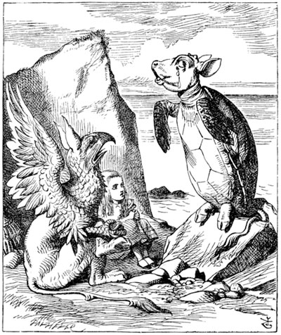 Sir John Tenniel's incomparable etching from Alice in Wonderland brings the mock turtle to life. Mock turtle implied the use of veal, mainly heads and feet, instead of turtle, primarily in recipes meant to simulate turtle soup, the most popular of the turtle dishes. Note the calf's head on the turtle's body. The feet should be those of a calf as well, though they appear a bit more pig-like in this image. [Photo from www.fromoldbooks. org/LewisCaroll-AliceInWonderland]