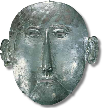 Associated with the Liao Dynasty (947–1125 CE), this death mask (H. 21  cm) was made by beating a heavy sheet of silver. UPM #44-16-1A,B.