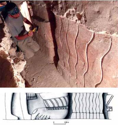 A stucco frieze, featuring a pair of human legs and two oversized feet, was discovered below Structure 14. In 2010, an additional pair of human legs was revealed on the right side of the frieze. Drawing by Katarzyna Radnicka and Bogumił Pilarski.