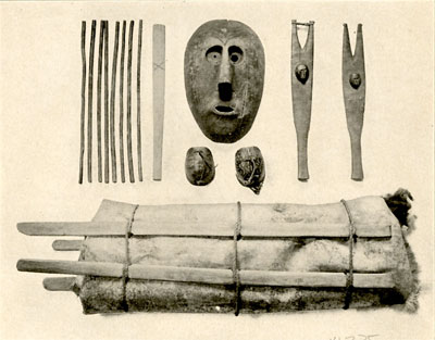 Fig.35-Ceremonial objects of the Delawares: drum, forked drum sticks, turtle shell rattles, mask and prayer sticks.-Heye Collection.