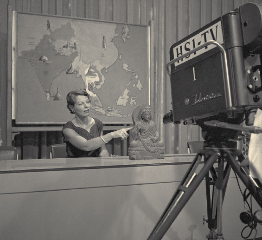 Elizabeth (Lisa) Lyons appeared on Japanese television to discuss Asian art, 1956. Museum Image # 194047