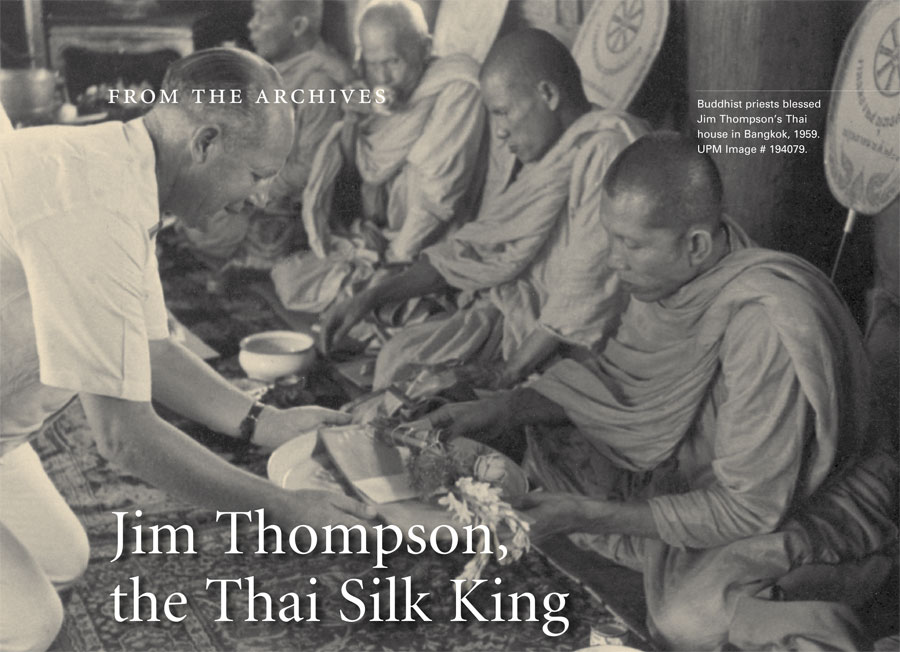 Buddhist priests blessed Jim Johnson's Thai house in Bangkok, 1959. Museum Image: 194079