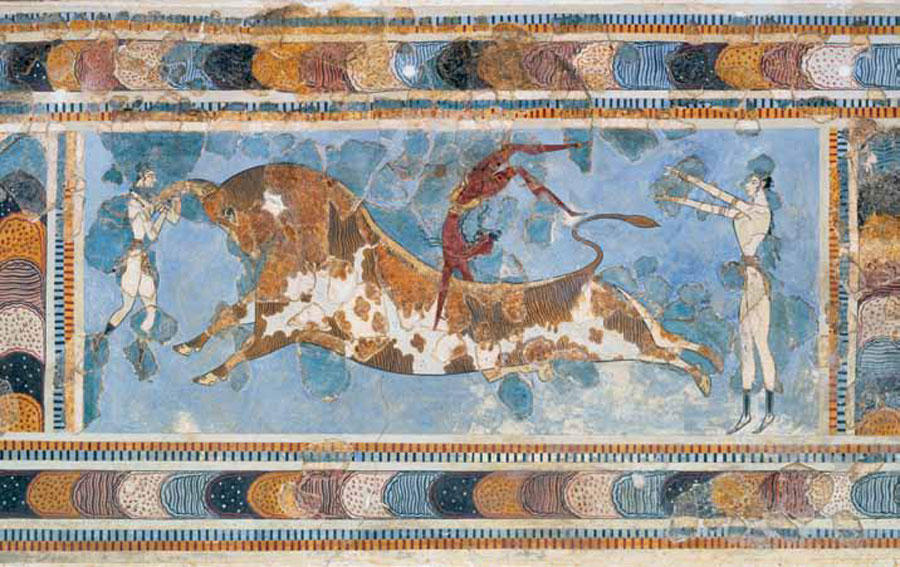 op, the famous Bull-leaping fresco, from the palace at Knossos, depicts a critical moment in the event. Two female figures (in white) are positioned at each end of the bull, while a male figure (in brown) throws himself into a somersault off of the bull's back. Although this fresco has been reconstructed—the darker fragments are the recovered pieces—the sport or ritual of bull-leaping is clearly depicted. The fresco dates to the Final Palace period, ca. 1450–1400 BC.