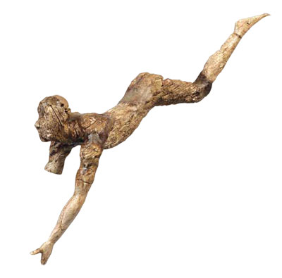 an ivory figurine of a bull leaper was probably part of a three-dimensional composition depicting bull-leaping. Recovered from Knossos, it dates to the New Palace period, ca. 1600–1500 BC.
