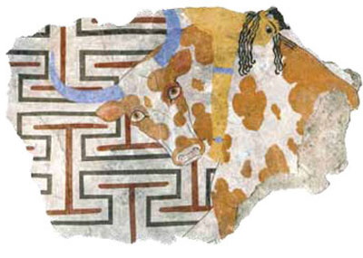 The painting was recovered in fragments and has been reconstructed, with the detail on the left showing a close-up of the bull-leaper and bull on the far right in the larger composition.