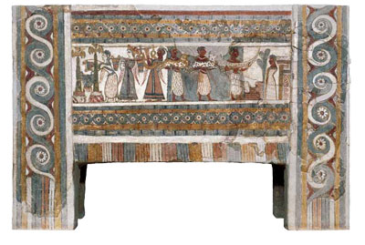 Above, this Late Bronze Age sarcophagus was found in a funerary chamber at Hagia Triada in Crete. It was made of limestone, covered with a thin layer of lime plaster, and then painted. On one side of the sarcophagus (left), we see the sacrifice of a bull, accompanied by music and a procession of women. On the reverse side (above) another procession is depicted including women carrying buckets of blood to an altar and men presenting animals and a boat model to what may be a deceased man.