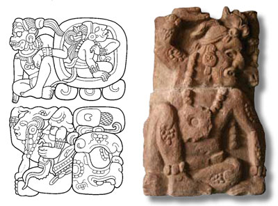 in this Calendar Round date from Copan Stela D,  we see numbers, as well as the days and months they  refer to, take the forms of gods and fantastic beings. It  records the position 10 Ajaw 8 Ch'en, which corresponds  to the Long Count date 9.15.5.0.0 that fell on July 22,  736 CE. Far right, this sculpture of an aged sky-bearer  supported a throne in the Sepulturas group at Copan. His  dotted body-markings identify him as animated stone.
