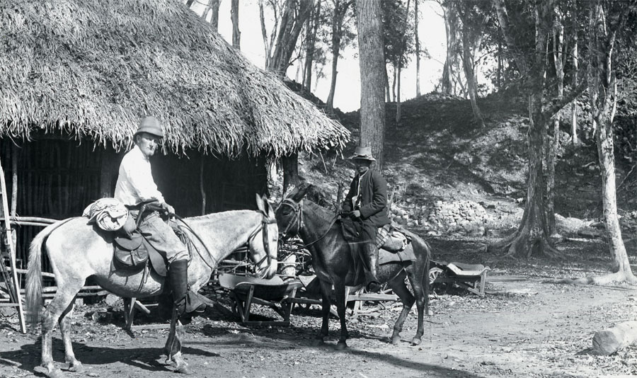 Gordon and his servant are photographed at their camp in Copan, ca. 1900. UPM Image #217932.