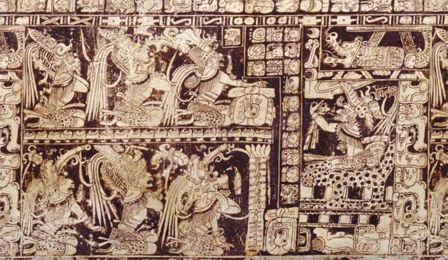 "This ""roll out"" photograph of a cylindrical vase shows the enthroned Underworld ruler God L (on the right) engaged in ""ordering"" a range of infernal  deities on 13.0.0.0.0 from 3114 BCE."