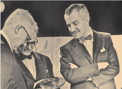 witw_vincent_priceAppearing on the December 4, 1954, telecast was actor Vincent Price, with Coon (left) and Lipchitz (middle). They examine a mask from the Ivory Coast. Image taken from kinescope.