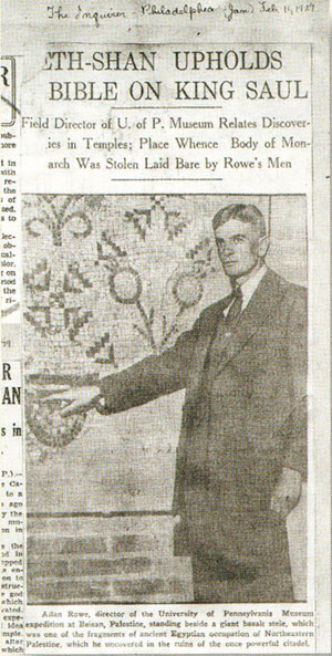 """Alan Rowe appeared in the Philadelphia Inquirer on February 11,1929, posed with a Late Antique mosaic. The headline reads: """"Beth Shan Upholds Bible on King Saul: Field Director of U. of P. Museum Relates Discoveries in Temples."""" Penn Museum Image: 694."""