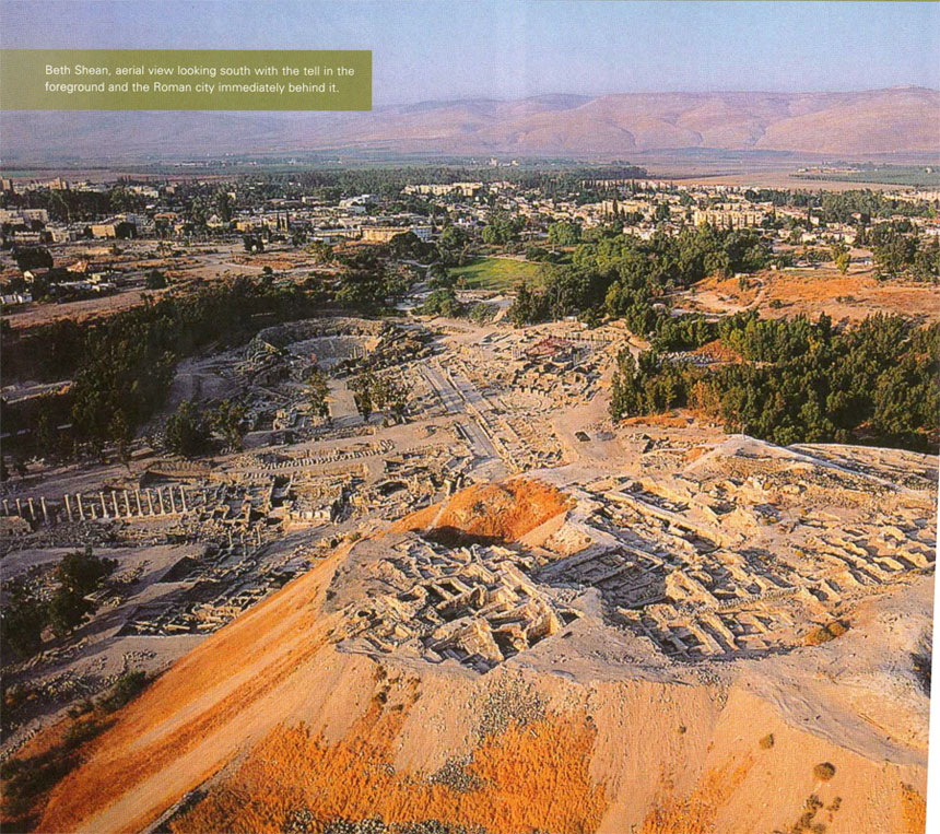 Beth Shean, aerial view looking south with the tell in the foreground and the Roman city immediately behind it.