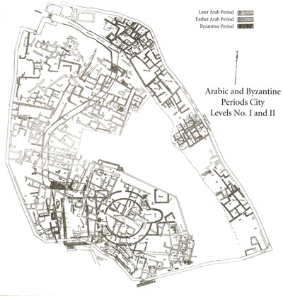 The excavators' plan of the tell, showing the relationship of the Round Church (see previous article) and the Byzantine street to the domestic structures on the Lower Terrace, to the north and east, where many of the lighting devices were found. From Beth-Shan Excavations 3.